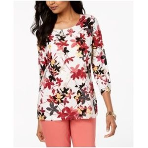 JM Collection 3/4 Sleeve Floral Printed White Top